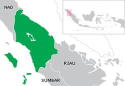 Peta nama nama daerah kota / kabupaten di provinsi SUmatera Utara (SUMUT)
