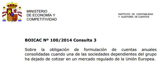BOICAC 100 consulta 3 obligación de formulación de cuentas anuales consolidadas