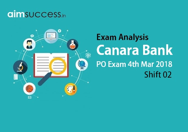 Canara Bank PO Exam Analysis 4th March 2018 - Shift 2