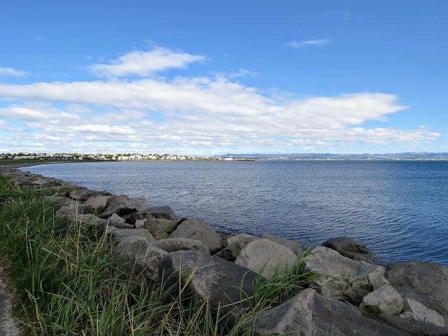 Calm waters on the southern edge of the Setjarnarnes Peninsula in Reykjavik