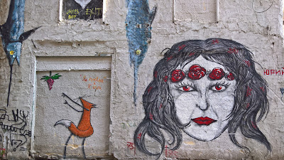 Palermo street art: woman with rose crown