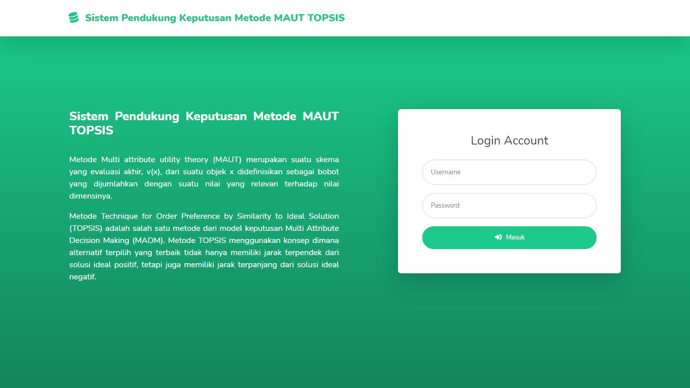 Aplikasi Sistem Pendukung Keputusan Penilaian Kinerja Pegawai/Karyawan Metode MAUT Dan TOPSIS - SourceCodeKu.com