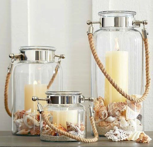 Glass Candle Lanterns for Beach Shell Display