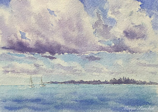 A water colour painting of a cloudy sky at Maldives on hand made paper