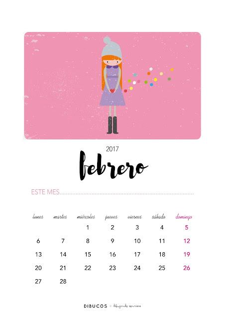 Dibu calendario imprimible gratis para febrero 2017