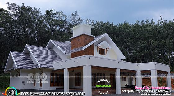 Work finished 4 bedroom sloping roof house in Kerala