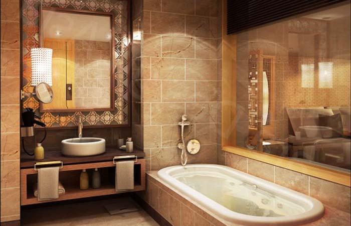 kahverengi modern dizayn banyo