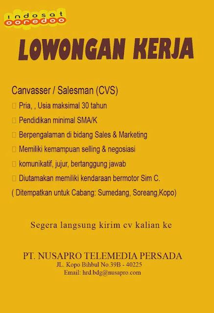 Lowongan PT. Nusapro Telemedia Persada