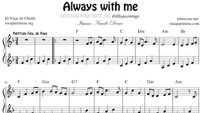 Always With Me Partitura Fácil de Piano Spirited Away BSO portada tocapartituras