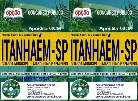 apostila Concurso Prefeitura de Itanhaém - GCM Guarda Municipal.