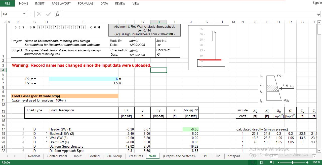 Abutment and Retaining Wall Design Spreadsheet-Download Free