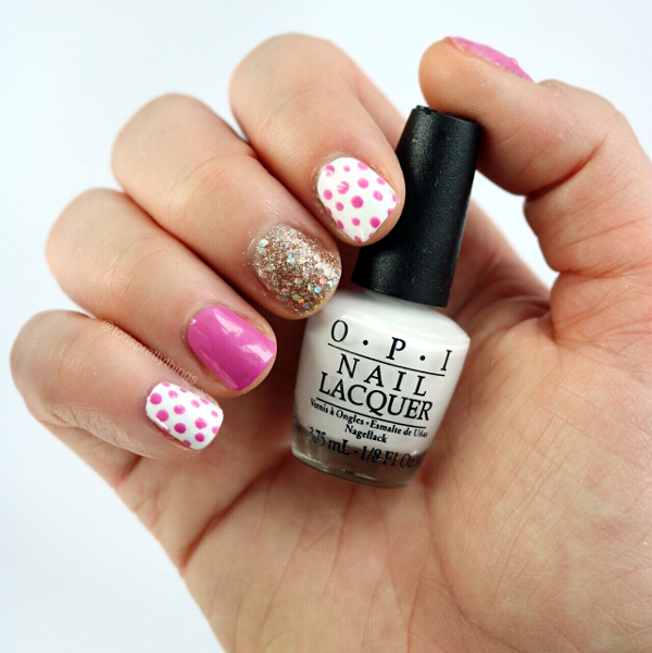 OPI Alpine Snow - Pink and Gold Glitter Dotticure Nail Art - Tori's Pretty Things Blog