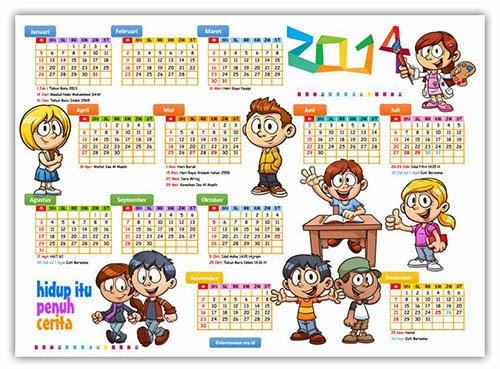 Download Kalender 2014 Desain Kartun Lucu pdf + Hari Libur
