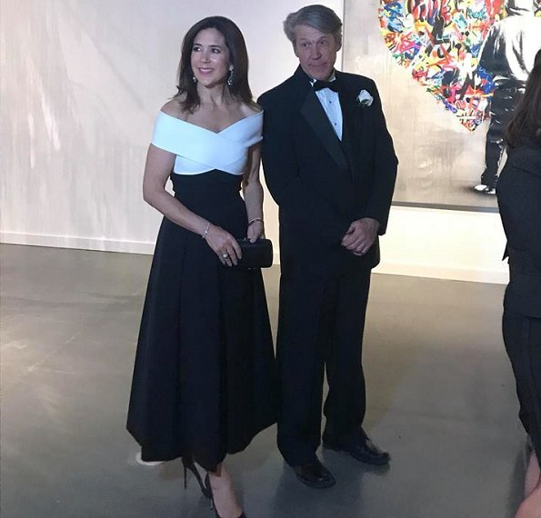 Crown Princess Mary wore Preen by Thornton Bregazzi Virginia Dress and Princess Mary carried Sergio Rossi black clutch, Gianvito Rossi shoes
