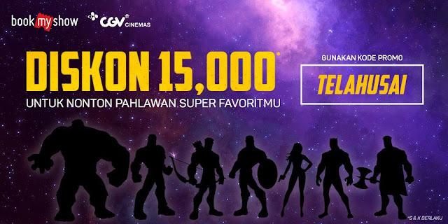 """#CGV - #Promo Kupon Diskon 15K Beli Tiket """"Avengers : Endgame"""" di BookMyShow (s.d 31 Mei 2019)"""