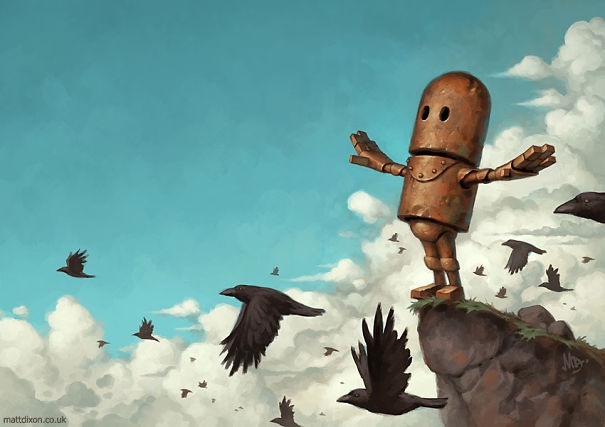 02-Matt-Dixon-Illustrations-of-Lonely-Robots-Experiencing-The-World-www-designstack-co