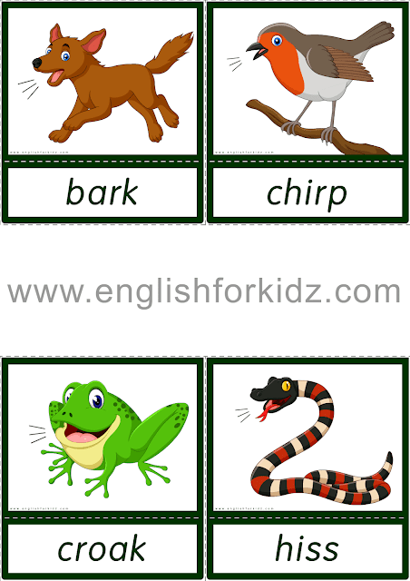Animal sounds flashcards for ESL students
