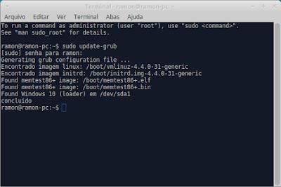 """Terminal com o comando """"sudo update-grub"""""""