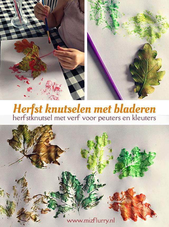 Herfst knutselen peuters en kleuters. Leuke herfstknutsel met bladeren en verf.