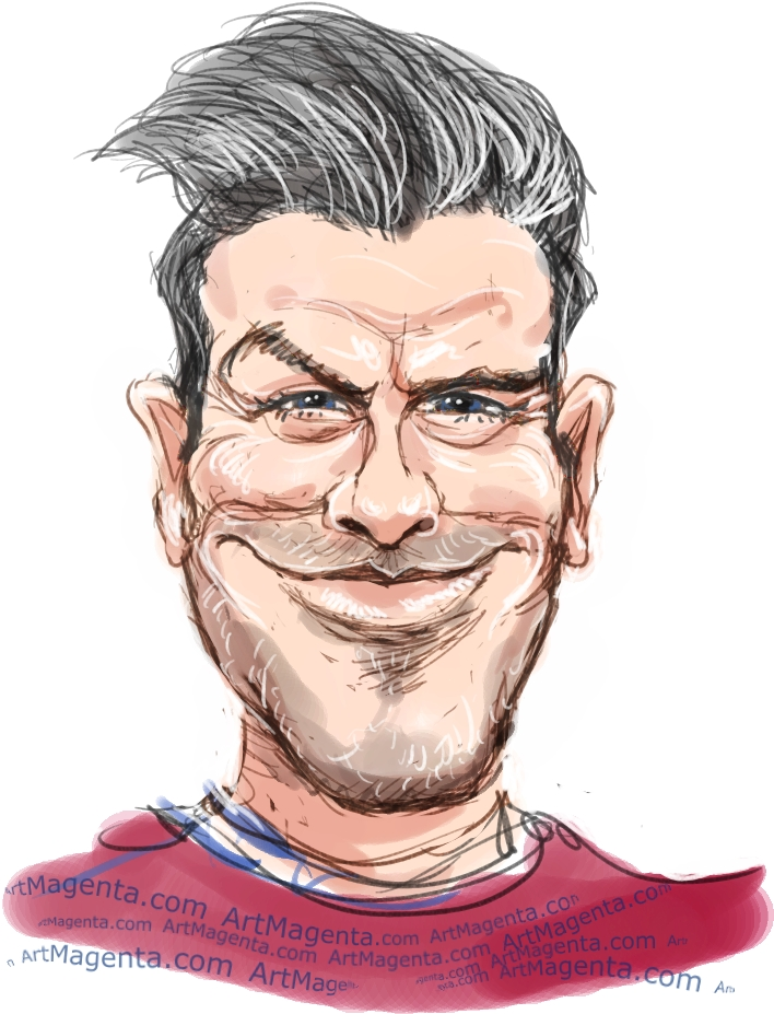 David Beckham caricature cartoon. Portrait drawing by caricaturist Artmagenta