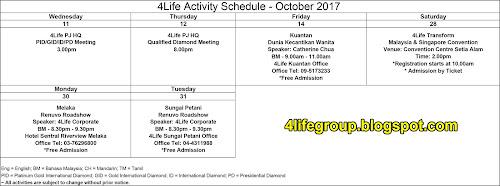 foto Jadual Aktiviti Bulanan Oktober 2017 4Life Malaysia