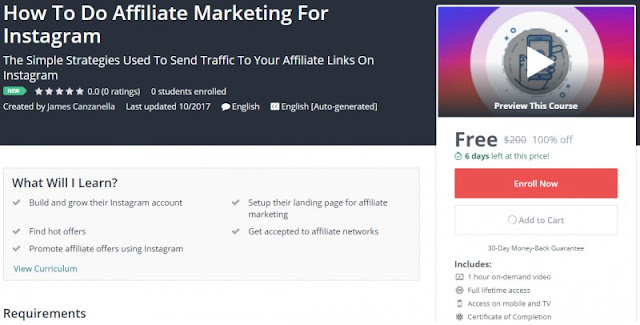 [100% Off] How To Do Affiliate Marketing For Instagram| Worth 200$