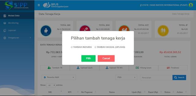 Petunjuk Penggunaan SIPP Online BPJS Ketenagakerjaan 15