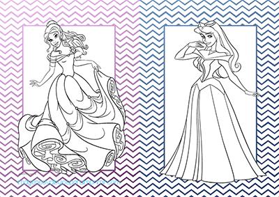 Imprimir y colorear princesas disney bella y aurora