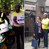 Man stage protest in front of Buhari's residence in London, UK police refuse to arrest him after they were called (Photos)