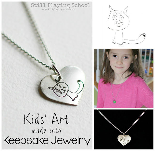This makes a perfect gift! Turn kids' art from a drawing into keepsake one of a kind jewelry!