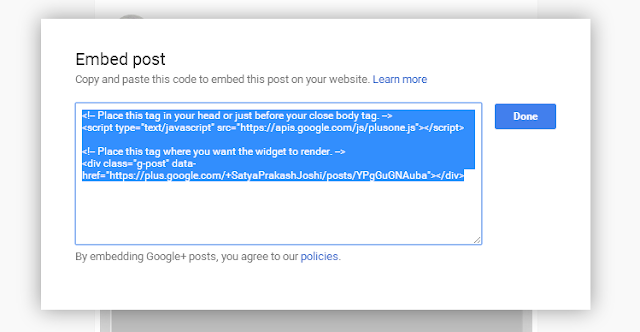 Embed Google+ Post on Blogger