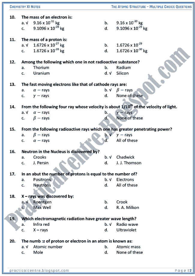 Practical Centre The Atomic Structure Mcqs Chemistry Xi