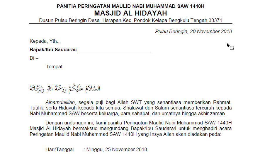 Contoh Surat Undangan Acara Maulid Nabi Muhammad SAW ...