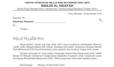Contoh Surat Undangan Acara Maulid Nabi Muhammad Saw Tutup Kurung
