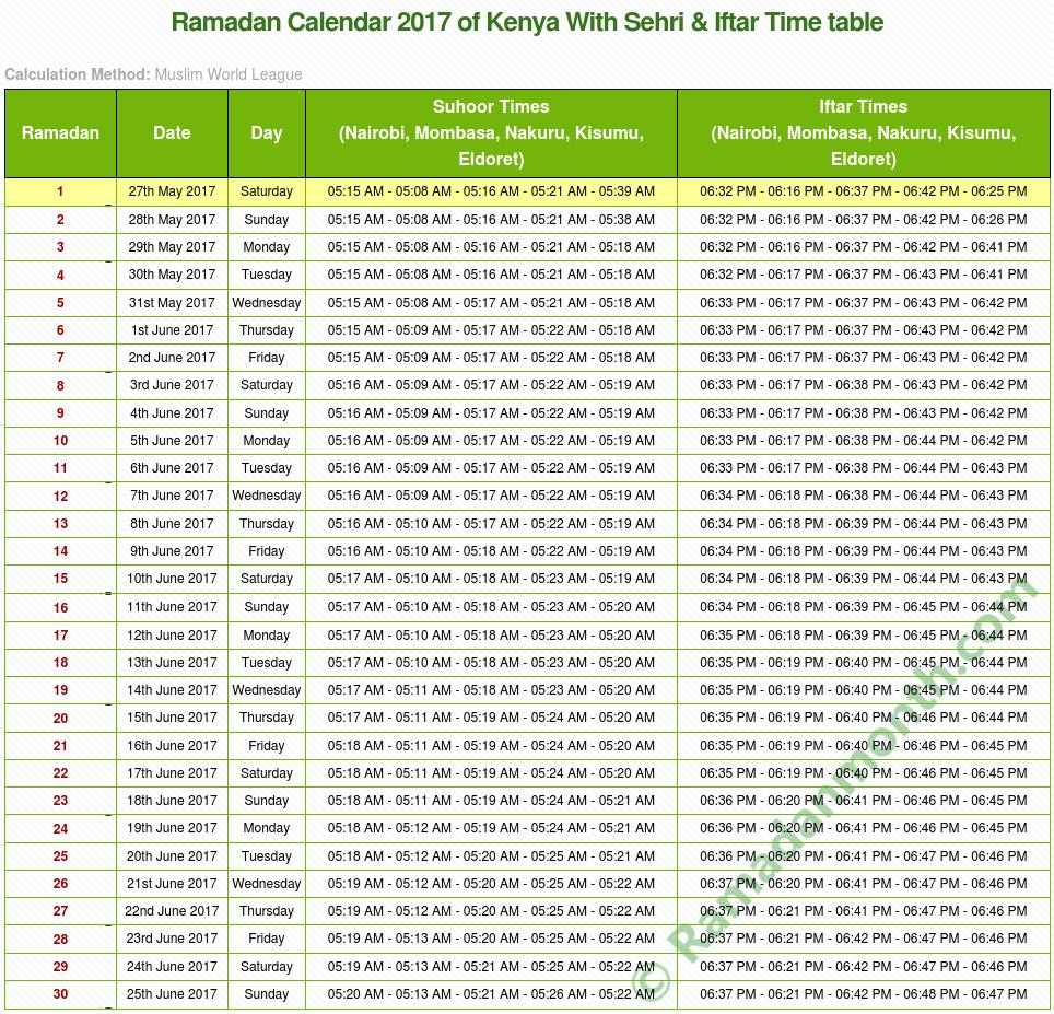 Ramadan calendar 2017 Kenya