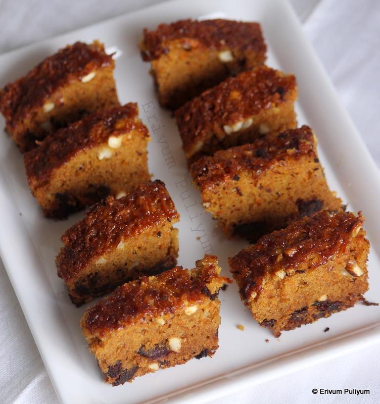 Erivum Puliyum Carrot Dates Pudding Cake