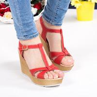 Sandale Piele Hanna rosii cu platforma • modlet