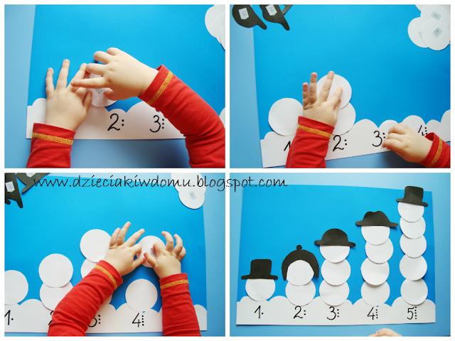 Bałwanki dla dzieci liczenie od 1do5, litery, pisanie imienia, zabawy kreatywne dla dzieci