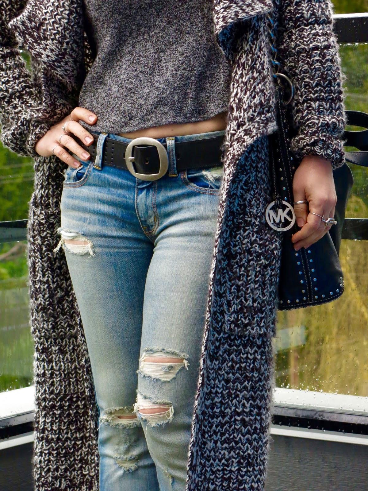 distressed flare jeans, sweater coat, Michael Kors bag