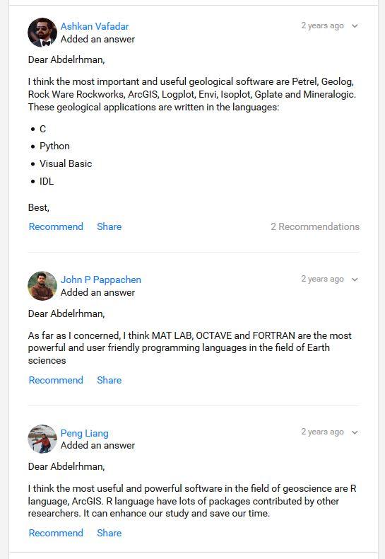 Programming language in geology/geophysics