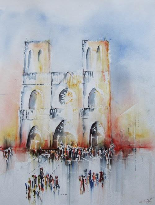 Paris, Notre-Dame, Aquarelle