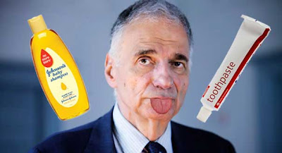 Ralph Nader photo collaged to add him sticking out his tongue with a bottle of shampoo and a tube of toothpaste floating near his head