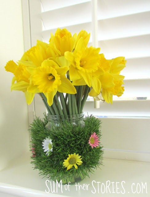 Jam Jar upcycled to a Spring vase