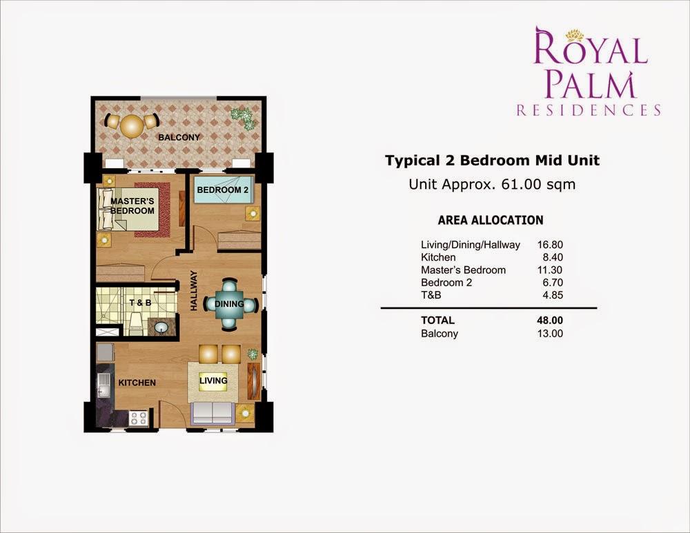 Royal Plam Residences - 2 Bedroom Unit 61.00 sqm.