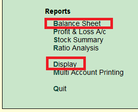 How to create tally balance sheet