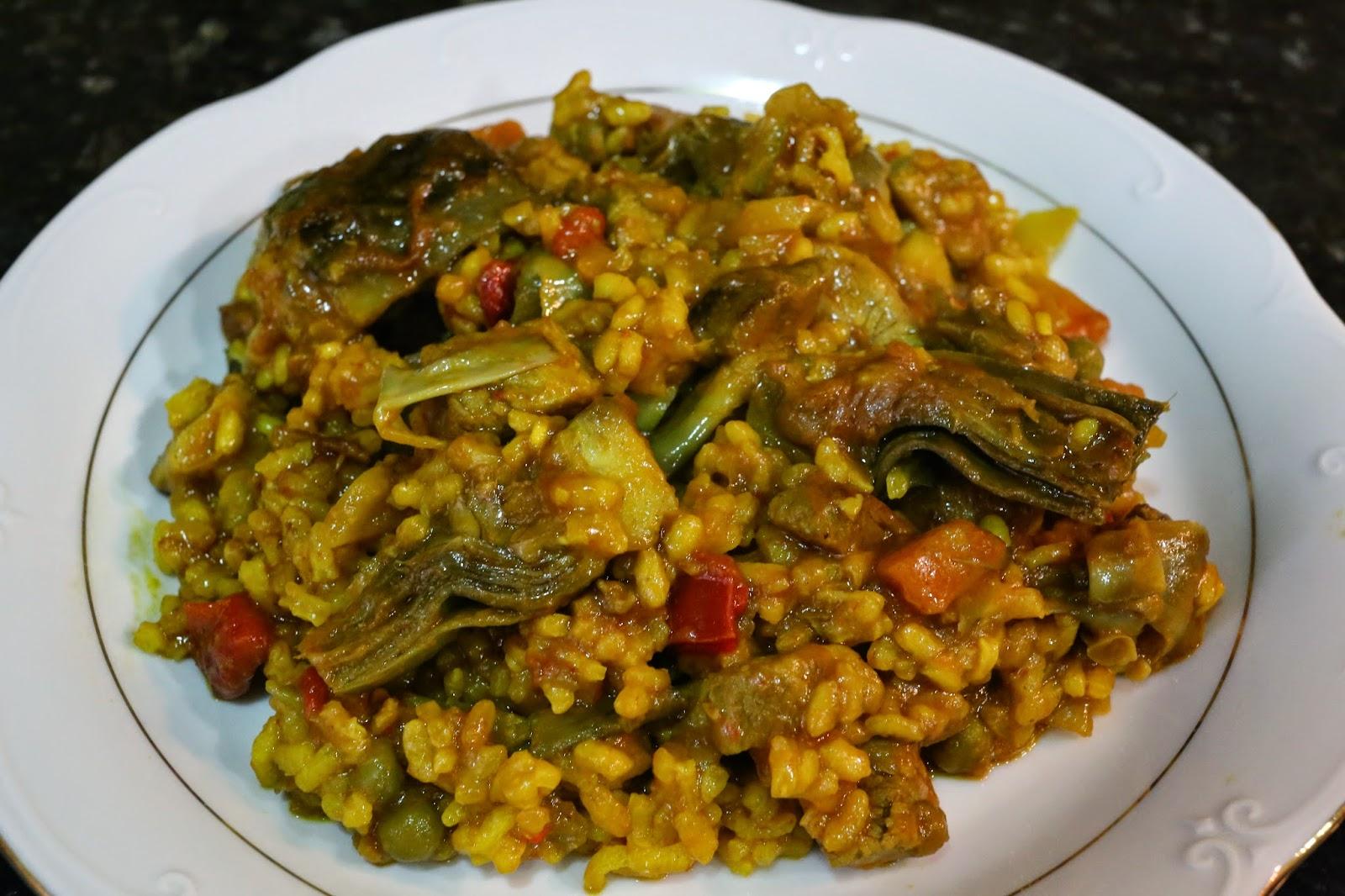 Cocina andaluza arroz con alcachofas y lomo de cerdo - Arroz con alcachofas y jamon ...