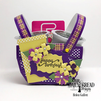 Our Daily Bread Designs Stamp Set: A Happy Hello, Our Daily Bread Designs Custom Dies:  Bountiful Basket, Bitty Blossoms, Mini Label, Beverage Cup, Our Daily Bread Designs Paper Collections: Plum Pizzazz, Boho Bold