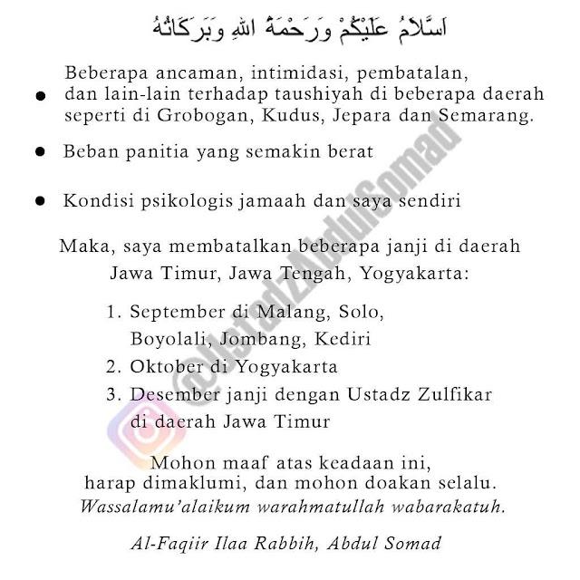 Terkuak! Ini Isi Surat GP Ansor Jepara yang Tolak Kehadiran Ustadz Somad