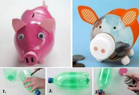 Idea to make something from bottle for kids : moneybox