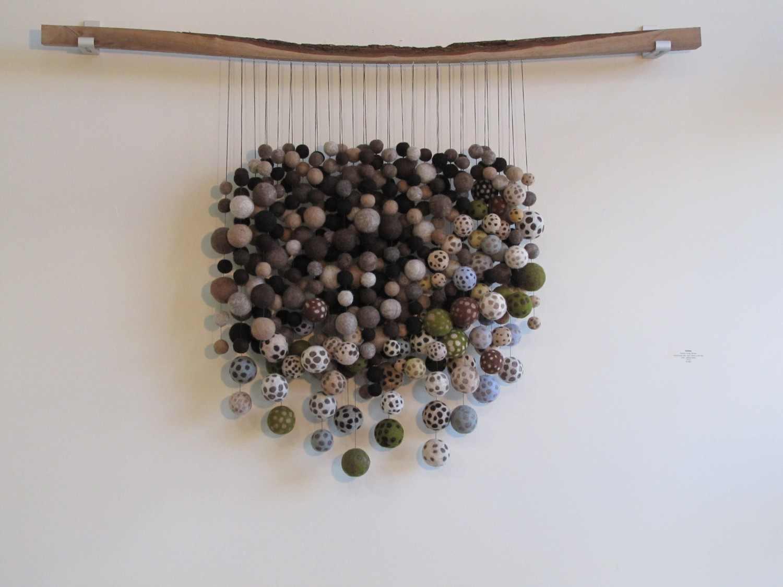 Felted wool ball art sculpture